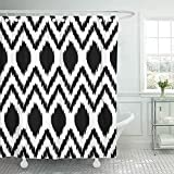 QIUJUAN Duschvorhang, Diamond Black and White Ethnic Ikat Abstract Geometric Pattern Kilim Shower Curtain 72 x 72 Inches Shower Curtain with Plastic Hooks