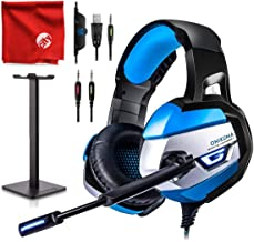 ONIKUMA K5 Blue LED Light Pro Over-Ear 7.1 Surround Sound Noise Cancelling Gaming Headset Microphone Bundle with Headphone Stand for PC, Xbox One, PS4, Nintendo Switch, Mac, Desktop, Laptop, Computer