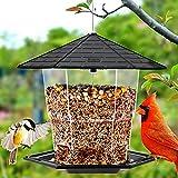 Jealoeur Bird Feeders for Outside Hanging, Bird Feeder, 48 Oz, Wild Bird Seed for Outside Feeders, Squirrel Proof Bird Feeders and Garden Decoration Yard for Bird Watchers (Black)