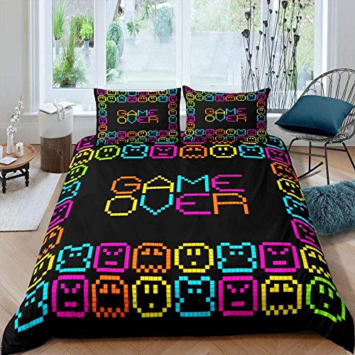 Dvvseso 3D Printed Duvet Cover Set with Zipper Closure 3 Pieces Creative colorful game pixel pattern Bedding Set with 2 Pillowcases Double size 200 x 200 cm -Simple duvet cover