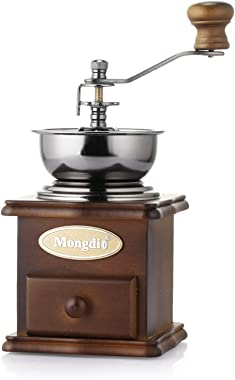 Manual Coffee Grinder Vintage Style Wooden Coffee Grinder Coffee Bean Grinder With Adjustable Gear Setting Tea-green Colour