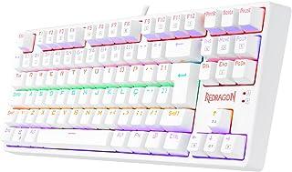 Teclado Mecânico Gamer Redragon Daksa Lunar White Iluminação Rainbow Switch Azul K576W-R