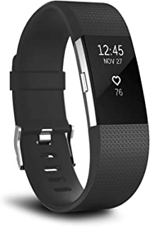 T Tersely Watch Band Strap for Fitbit Charge 2, Classic Soft TPU Silicone Adjustable Replacement Bands Fitness Sport Brace...