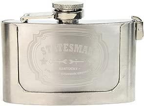 costumebase Statesman Engraved Buckle Hip Flask Kingsman 3oz Stainless Steel