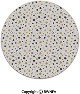 Quality Well Woven Barclay Round Area Rugs,Hand Drawn Stars Pattern Magical Cosmos Galaxy Theme Doodle Universe Artwork 5' Diameter Gold Black White,for Kids Room Bedroom Kitchen