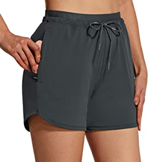"BALEAF Women's Shorts 4"" Running Shorts Quick Dry with Zip Pockets Stretch High Waist Outdoor Workout UPF 50+ Active"