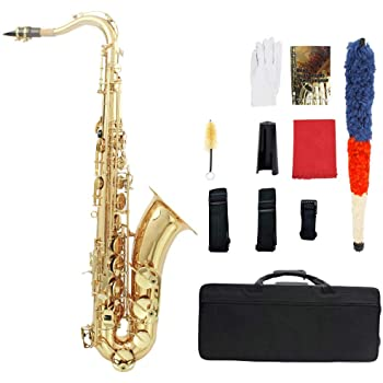 ammoon LADE Brass Bb Saxofón Tenor Sax Tallada Perla del Patrón Shell Blanco Botones Instrumento de Viento con los Guantes Casos Trapo de Limpieza de Grasa Cepillo de Banda: Amazon.es: Instrumentos musicales