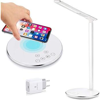 Lampe de Bureau LED Contrôle Tactile Lumière de Table Pliable avec Base de Chargeur sans Fil pour iPhone X & Samsung S6 S7 S8 S9 4 Modes et 5 Niveaux