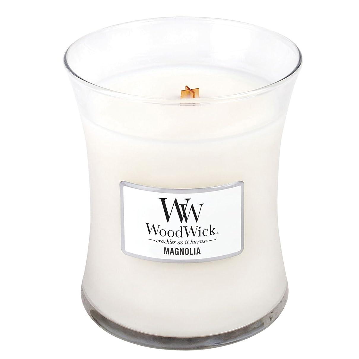 休暇推進、動かすラッシュWoodwick Magnolia, Highly Scented Candle、クラシック砂時計Jar、Medium 4インチ、9.7?Oz
