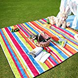 Three Donkeys Machine Washable Lightweight Picnic & Beach Blanket Rug Handy Mat Tote Plus Thick Dual Layers Wate-Resistant Sandproof Padding Portable for Family,Friends, Kids, 79'x79' (Colour)