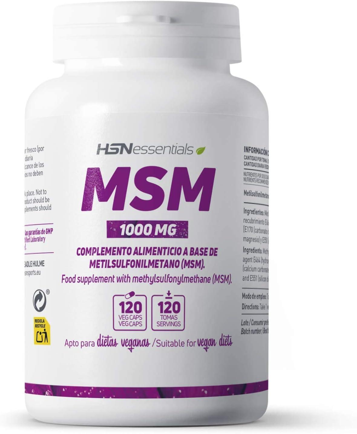 HSN MSM 1000 MG Aporta 1g de Metilsulfonilmetano por Cápsula | Suministro para 4 Meses | Ayuda para Articulaciones, Cabello y Piel | Vegano, Sin Gluten, Sin Lactosa, 120 Cápsulas Vegetales