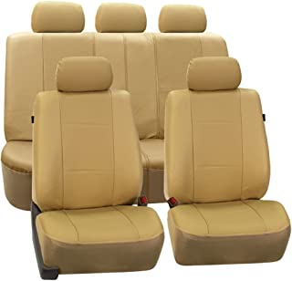 FH Group PU007BEIGE115 Universal Fit Full Set Deluxe Seat Cover - Leatherette Airbag Compatible and Rear Split, Fit Most Car, Truck, SUV, or Van