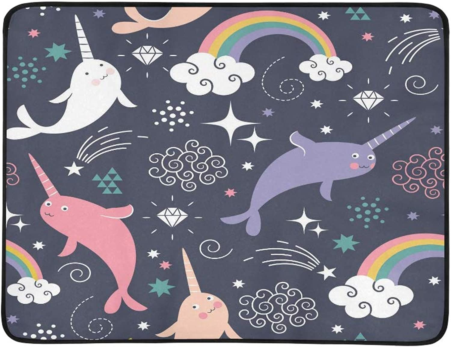 Cute Narwhal Unicorn Fish Dark blueee Pattern Portable and Foldable Blanket Mat 60x78 Inch Handy Mat for Camping Picnic Beach Indoor Outdoor Travel
