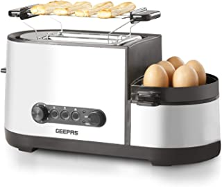 Geepas 1250W 5 in 1 Toaster with Egg Boiler and Poachers, Stainless Steel 2 Slice Toaster with Mini Frying Pan, Steamer, W...