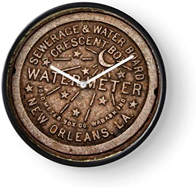 Retro Orleans District History U Garden S Louisiana Architecture New A Wall Clock Excellent Accurate Sweep Movement Glass Cover, Decorative for Kitchen, Living Room, Bathroom, Bedroom, Office