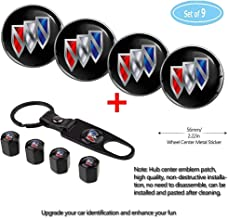 Fubai Auto Parts 4 Pack for Buick Wheel Center Caps Emblem-Black,56MM/2.22' Rim Hub Emblem Badge Sticker + 4 Pack KeychainValve Covers Fit +1Pack Keychain for Buick All Models (Buick)