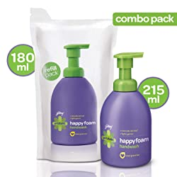 Godrej Protekt Happyfoam Liquid Handwash Bottle (215ml) + Refill (180ml) for Kids