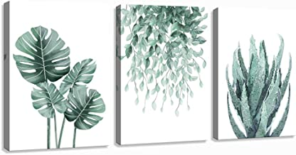 Green Canvas Wall Art for Living Room Bedroom, Monstera Shallow Green Leaf Tropical Succulent Plant Picture Canvas Prints,Modern Framed Minimalist Water Color Set of 3 Piece 12