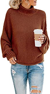 Women's Casual Classic Solid Color Long Sleeve Warm Crew Neck Turtleneck Knitted Oversized Pullover Sweaters Tops