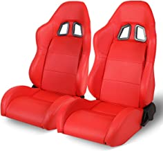Universal Red PVC Leather Off-Road Style Fully Reclinable Racing Seats (Driver and Passenger Side)