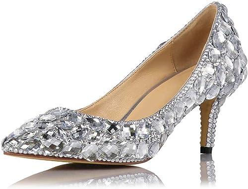XLY damen Stiletto Kitten Heel Glitter Crystal Rhinestone schuhe de Corte Puntiagudo Nupcial Boda Bombas schuhe para Novia, Dama de Honor,40