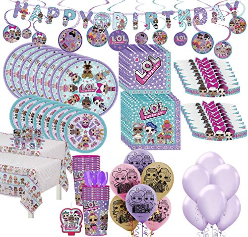 Party City LOL Surprise! Mega Ultimate Party Kit for 16 Guests, 198 Pieces, Includes Tableware, Tiaras, and Balloons