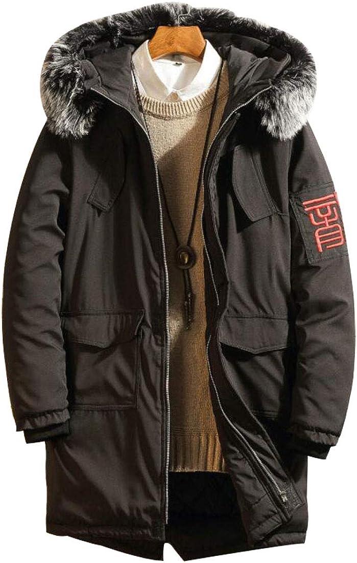 HZCX FASHION Men's Warm Parka Jacket Anorak Jacket Winter Coat with Fur Hood