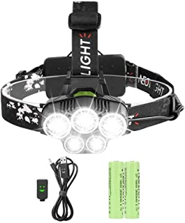 Zukvye LED Head Torch, Super Bright 5000 Lumens Rechargeable Headlamp, 4 Modes, Zoomable Waterproof Headlight Perfect for ...