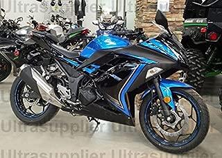 Blue w/Black Complete Fairing Injection for 2013-2017 Kawasaki Ninja 300 2014 2015 2016 EX300R EX-300R