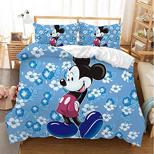 XZHYMJ Mickey Mouse Duvet Cover Set Disney Bedding Set Cartoon 3D Digital Pattern Soft Microfiber 3-Piece Set Duvet Cover and Pillowcase (02 Double Bed 200 x 200 cm)-08_Single 135X200CM