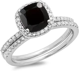 10K 7 MM Cushion Gemstone & Round White Diamond Halo Wedding Ring Set, White Gold