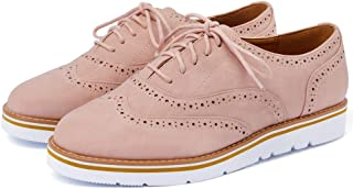fa51ce621d7 VANDIMI Womens Lace Up Loafers Perforated Oxfords Shoes Casual Platform  Wingtip Brogue Sneakers