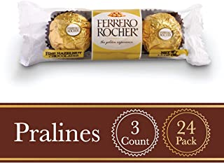 Ferrero Rocher Fine Hazelnut Milk Chocolate, 3 Count Individually Wrapped Chocolate Candy Gifts, (Pack of 24)