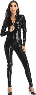 HDE Women's Cat Suit Halloween Costume Zipper Front Wet Look Black Full Body Adult Sized Jumpsuit