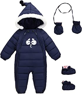 Baby Girls Boys One Piece Two Zipper Cartoon Down Jacket Jumpsuit Romper with Gloves and Shoes