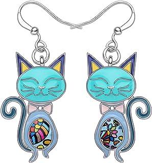 NEWEI Enamel Alloy Rhinestone Cat Kitten Earrings Dangle Drop Hook For Women Kids Charm Fashion Animal Pet Jewley Gifts