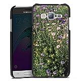 DeinDesign Cover kompatibel mit Samsung Galaxy J3 Duos 2016 Lederhülle schwarz Leder Hülle Leder Handyhülle Blumenwiese Wildblumen Blumenfeld