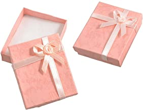 TOOGOO(R) 2 x Bowtie Accent Cardboard Gift Cases Present Boxes Bracelet Holder Peach Pink