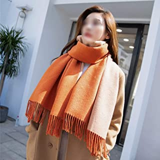 YANGBM Scarf Wool Scarf Female Winter Thick Section Wild Solid Color Long Shawl Coat Warm Scarf Dual-use (Color : E)