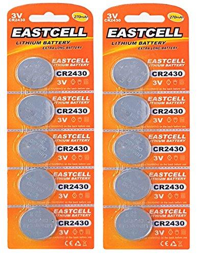 EASTCELL 10 x CR2430 3V Lithium Knopfzelle 270 mAh (3 Blistercard a 5 Batterien CR2430) EINWEG Markenware FBA