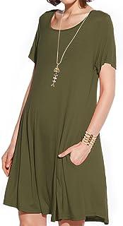 JollieLovin Women Long Sleeve Dress with Pockets Plus Size Swing Casual Loose Tshirt Dresses