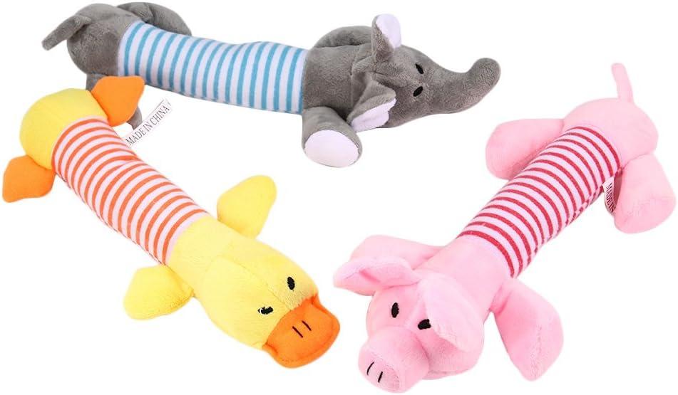 SZMYLED 3 pezzi Giocattoli di peluche per cani giocattolo molare interattivo miglior cane giocattolo masticare 1 x rosa maiale+1 x anatra gialla+1 x elefante grigio