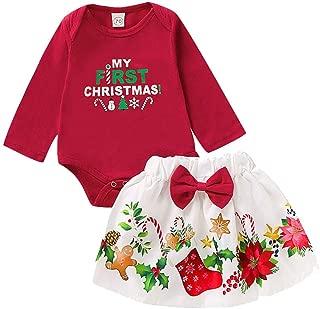 Niña Recién Nacida 2 Piezas Trajes Monos + Falda Princesa Pajarita Manga Larga Traje Rojo Vestido De Navidad Impreso Dibujos Animados Niño Bebé Mi Primera Navidad 0-18 Meses