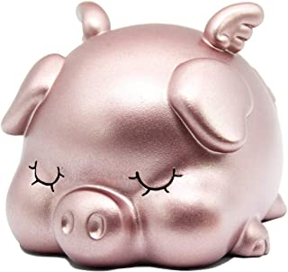 H&W Purple Piggy Bank for Baby, Shatterproof Money Bank, Very Cute Sleeping Pig, Medium Size, Great Coin Bank Gift for Boy, Girl (WK7-D5)
