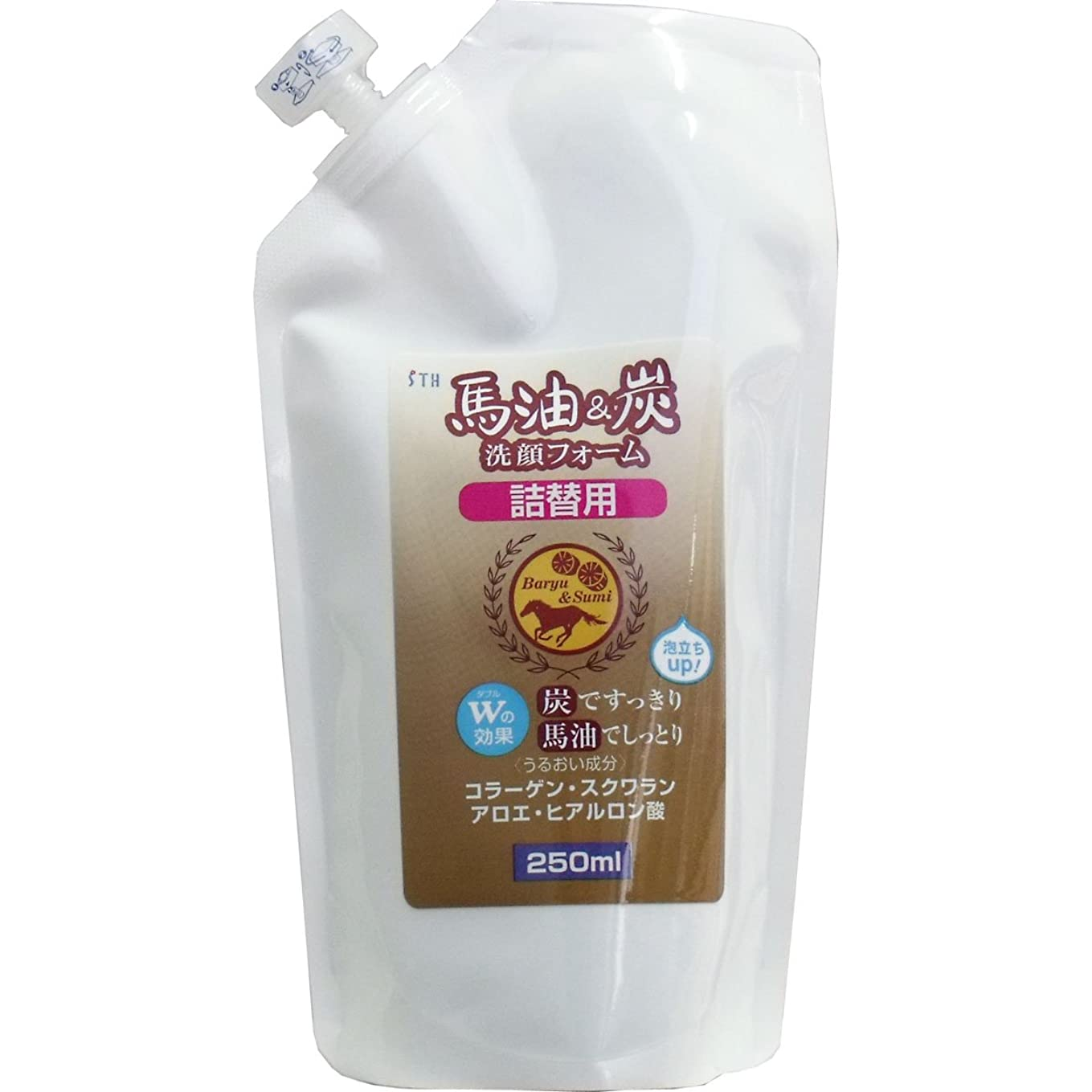 対推進認証馬油&炭洗顔フォーム【詰替用250ml】×2袋