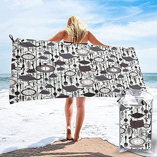 Toalla De Playa Toallas Bañon,Toalla De Microfibra Toalla De Playa De Secado Rápido Tetera Vintage Reloj Taza Toallas De Baño Súper Absorbentes para Viajes Gimnasio Campi70X140Cm (28X56 Pulgadas)