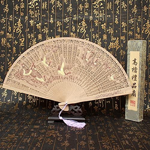 SHUANGJ Señoras doblando Ventilador sándalo Ventilador sándalo Ventilador Birmano Fan Regalo Fan Sandalwood Fan Songhe Yannian