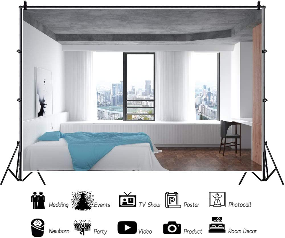 DORCEV 10x6.5ft Sew View Room Photography Backdrop Clean and Tidy Room White Wall Background Overlook City Holiday Travel Kids Adults Portraits Photo Studio Photobooth Props