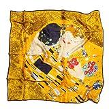 prettystern Chal foulard de seda mujer con impresión de arte Art Nouveau Gustav Klimt 90cm cuadrado El beso P674