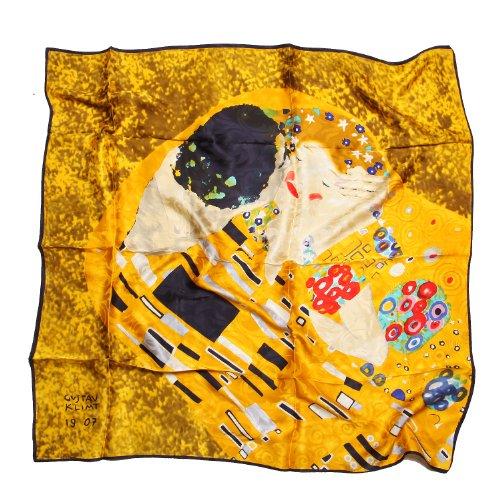 Prettystern prettystern Damen 90cm X 90cm Malerei golden gelb art nouveau 100% Seiden-tuch - Gustav Klimt - Der Kuss Kiss P674